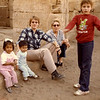 Egypt, 1982 - Whole family and a stranger on roof of Temple of Edfu.