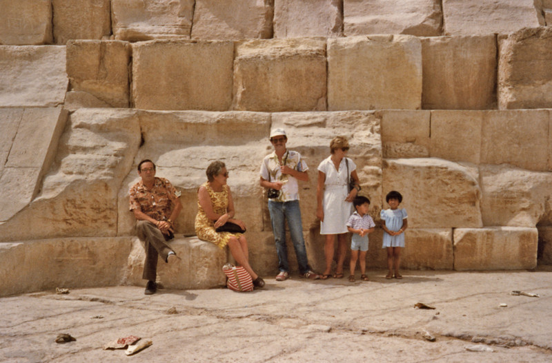 Egypt, Cairo (1983) - Me, Ailsa, son-in-law Steven Privet and daughter Ann(on their honeymoon), Carey and Adele at foot of the great Pyramid of Cheops at Giza.