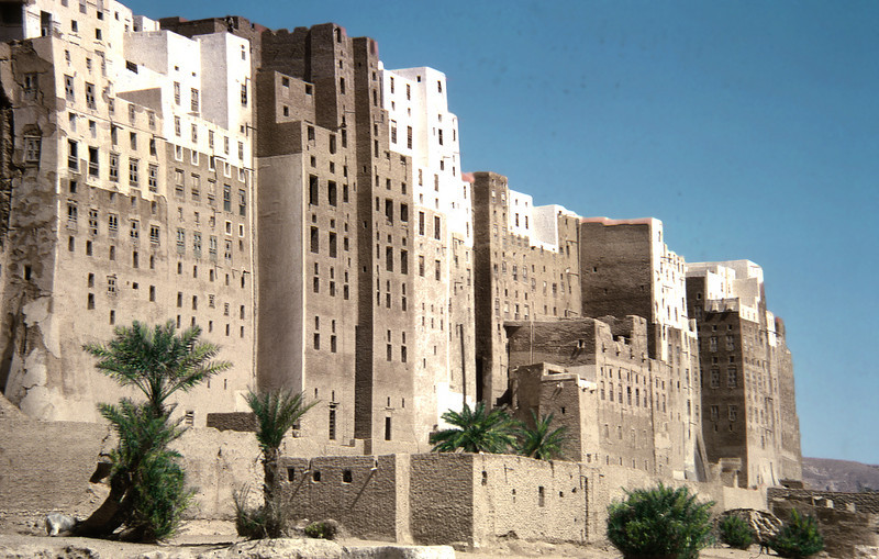 South Arabia (1962) - South face of the city of Shibam looking east, Wadi Hadhramaut.