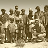 Iran, Baluchistan (1961) - Part of the crew of the 'Makran Diaries'. Our cook Mahmoud Khorsandi on far left, Me in dark glasses at back, Ted Thaxter kneeling in front with dark glasses.