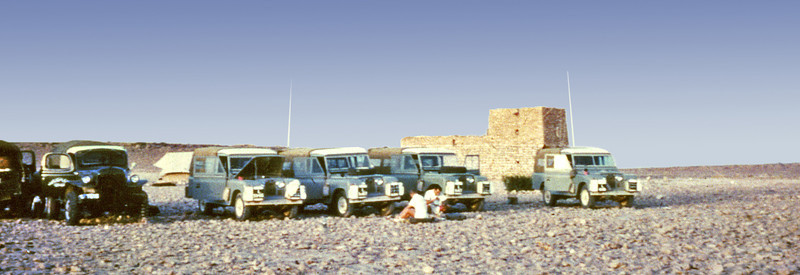 South Arabia (1963) - Our convoy at the HBL fort at Habarut - on the border with Dhofar.