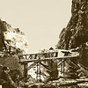 Pakistan (1958) - The two bridges in the bottom of the Khyber Pass. One carries west bound - and the other eastbound - traffic.