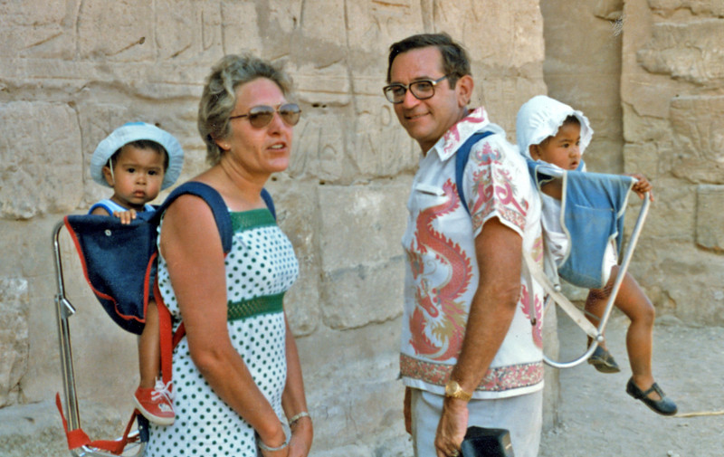 Egypt (1982) - Ailsa and me, with Carey (L) and Adele (R), at Edfu Temple.