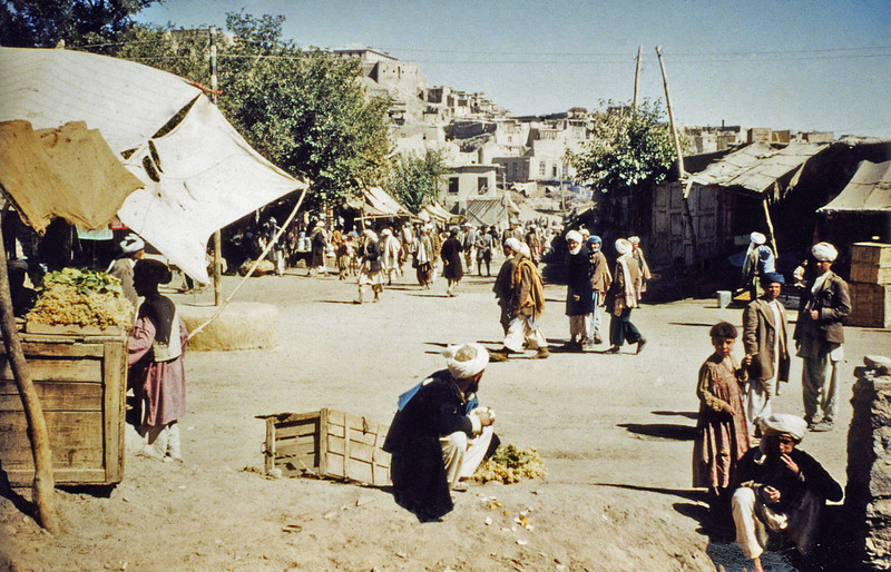 Afghanistan - Kabul (1958) - Market place below the Bala Hissar.
