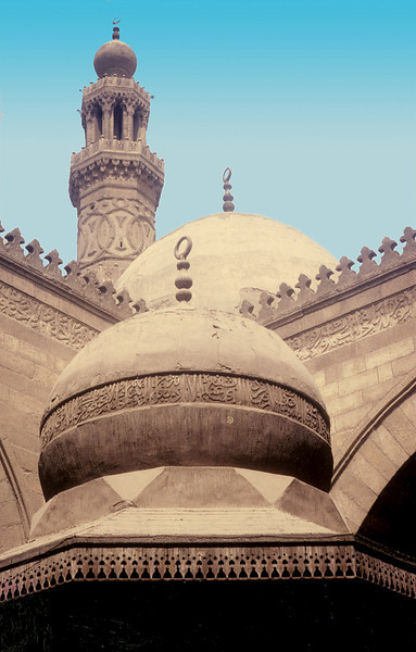Egypt, Islamic Cairo (1983) - Inside the sahn of 9th century Ibn Tulun Mosque. Minaret belongs to an adjacent mosque.