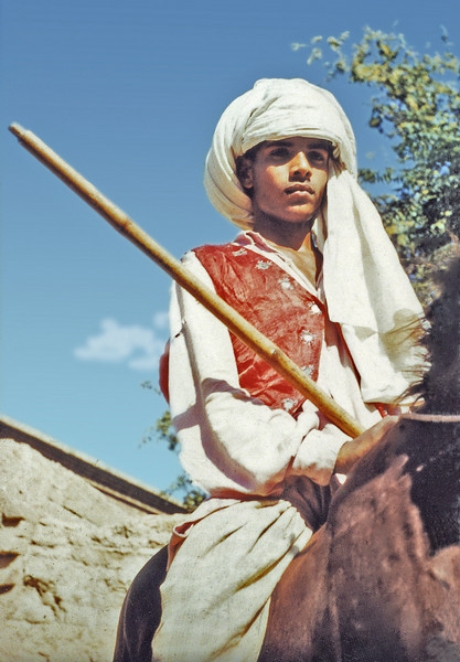 Pakistan, Moinuddinpur (1958) - Fifteen year old Ali Ajmer Mohammed, our 'minder', on his father's horse.