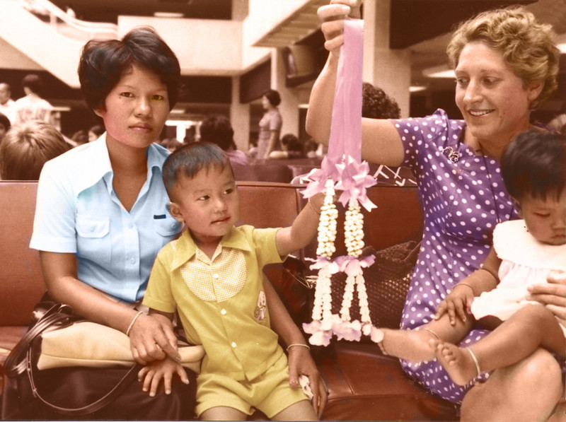 Bangkok, Thailand (1977) - Oot, Olay and Ailsa (holding Wichida). Photo taken on our last day in Thailand.