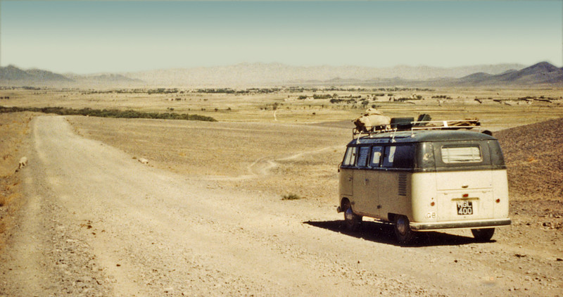 Afghanistan (1958) - Ian and Jane Brown's VW campervan heading west from Kandahar.