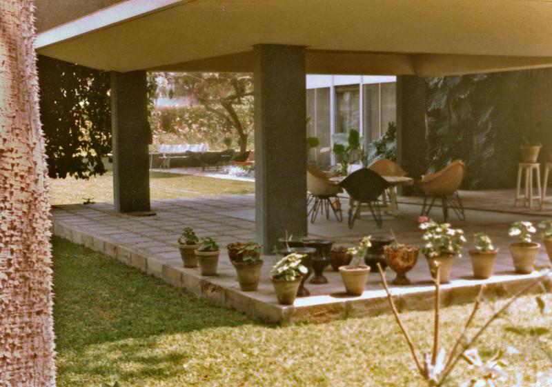 Egypt, Cairo, Ma'adi (1981-84) - Front patio of 25 Road 5. Master bedroom above, Suleiman's 'fantasia in far distance.