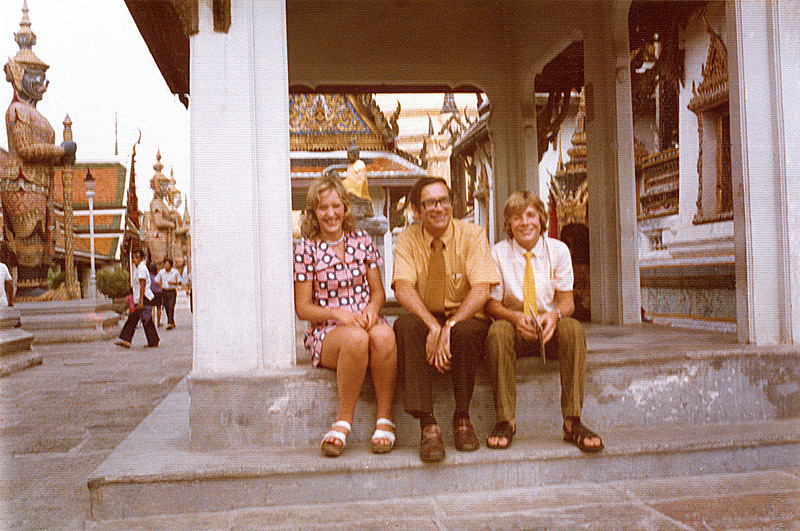 Thailand, Bangkok (1974) - Ann, me and Grant at the Wat Phra Kao (Temple of the Emerald Buddha). This was their second day in Asia and their first look at this most fabulous of temples.