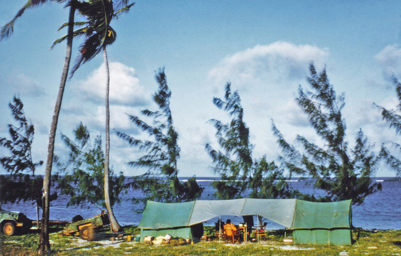 Africa, Kenya (1965) - Our safari camp at Malindi - about 150 miles north of Mombasa. Indian Ocean behind the tamarisk trees.