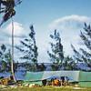 Africa, Kenya (1965) - Our safari camp at Malindi - about 150 miles north of Mombasa. Indian Ocean behind the tamarisk trees.