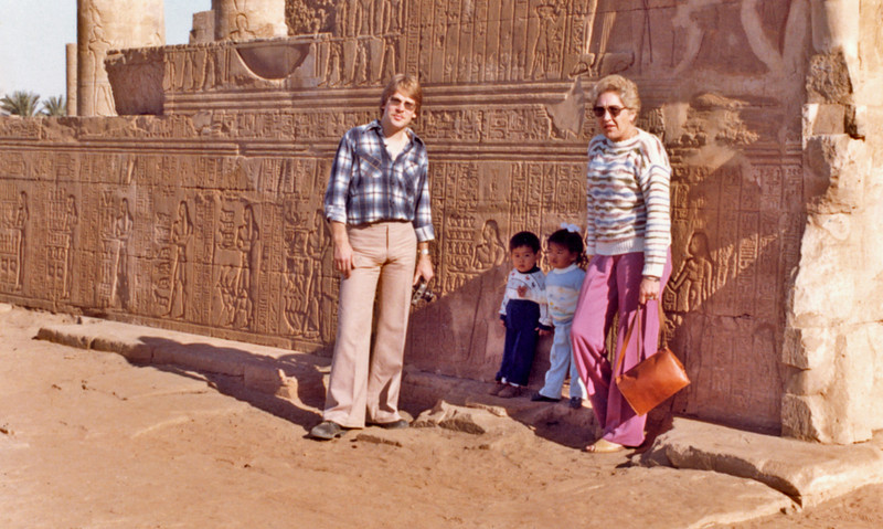 Egypt (1982) - Grant, Carey, Adele and Ailsa outside Temple of Kom Ombo.