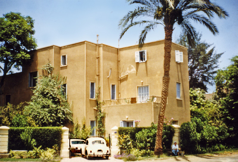 Egypt, Cairo (1966) - Our first house in Ma'adi at 19 Sharia Port Said. The VW beetle is mine. The balcony is part of my private suite of rooms