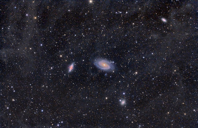 M82 M81 were the main targets.  These are about 12 million light years from and they are slowly pulling on each other.  I shot this on 2/24/12 from Adamsville, TX at the Bucksnort Observatory.  Air was clean and temps were in the low 30's.  Many thanks for the invitation.  24X600sec  ISO 1600 Darks, Flats, Bias Central DS cooled 5Dmarkii with custom filter Takahashi FSQ106edx F5 AP1200 SBIG Borg guided