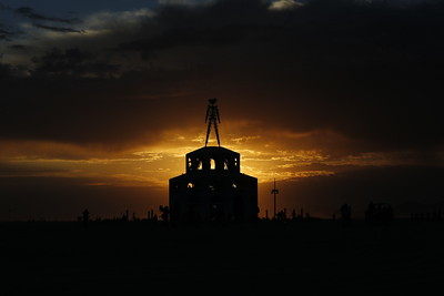 Burning Man 2012.  Sunrise at the Man.