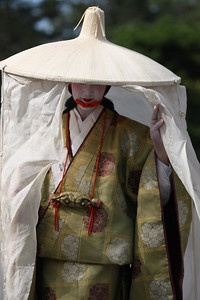 Geisha portraying Madame Fujiwara-Tameie in the 2010 Jidai Matsuri event in Kyoto, Japan. The parade includes historical outfits and characters from about 1200 years of Kyoto history.
