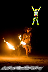 Burning Man 2009.  Fire performers from Pyronauts on the night of the Burn.