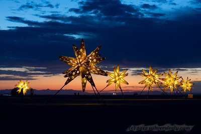 Burning Man 2012.  Dawn by the artwork 'Starlight'.