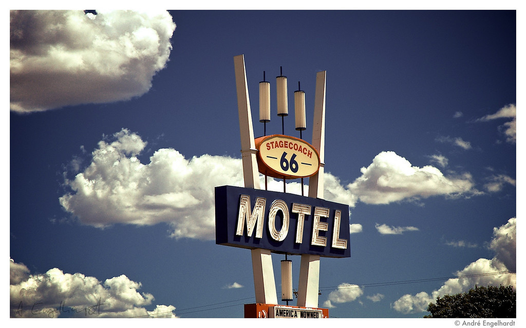 A motel sign along route 66.