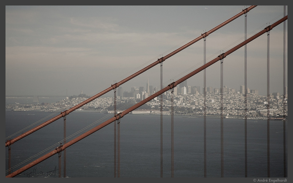 San Francisco with a piece of the Golden Gate Bridge.