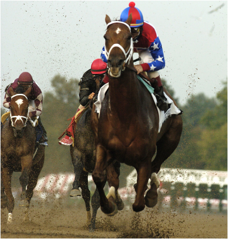 7.94x5.0deep---Ana Zangroniz photo for Mike Kane story to run 8.28.04.Jockey Pat Day and his mount, Azeri, right, lead the pack on the first lap of the one quarter and one mile Personal Ensign Stakes Race on Friday, August 27, 2004. In the end, the race was won by Storm Flag Flying, ridden by John Velazquez.