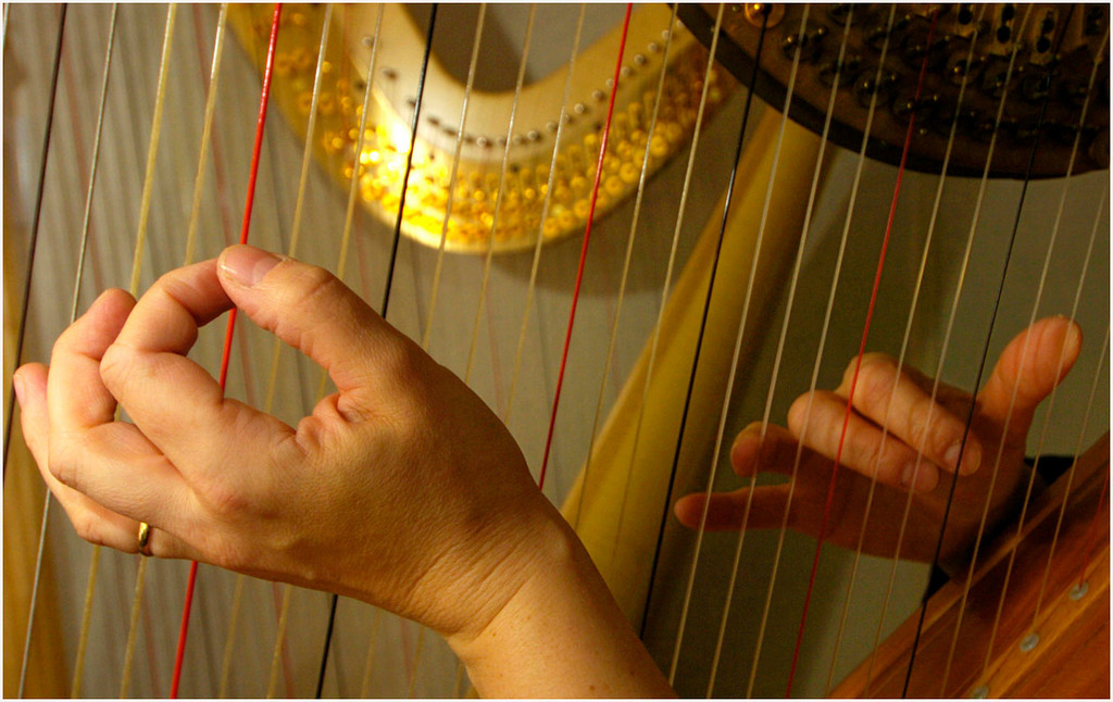 7.94X5.0deep---Ana Zangroniz photo for a Bill Rice story to run Arts, Thursday, March 17, 2005. The finders of Karlinda Caldicott pluck and strum at her concert harp as she rehearses a piece that she will perform this Sunday with the Schenectady Symphony Orchestra.