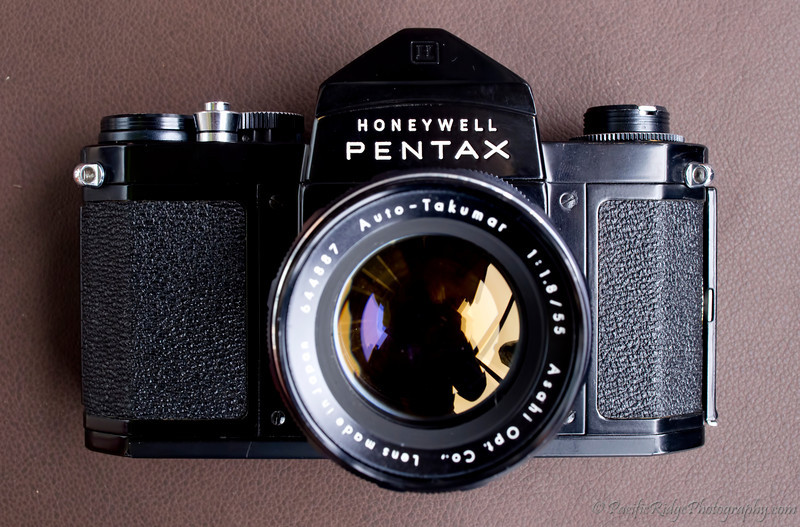Another view of the 1960 Black Honeywell Pentax H3 with a 55mm/1.8 Auto-Takumar.  Note that the Auto-Takumar is the start of a new lens design for Pentax, which would soon take the Super-Takumar name.