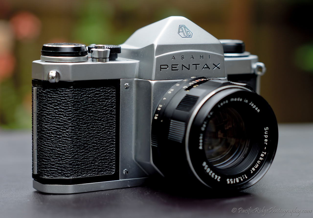 "Asahi Pentax Super S2 - Second Series.<br /> <br /> There were two Series of S2 Super<br /> <br /> The first Series of S2 Super was an enhanced S2 with 1/1000 second top speed. This was supplied with an Auto Takumar 55 F2 Standard Lens<br /> <br /> The second Series of S2 Super was a further enhanced S2 with 1/1000 second top speed and a self zeroing exposure counter as used on the S1a and SV This was supplied with the Super Takumar 55 F2 or 55 F1.8 Standard Lens<br /> <br /> Two types of the second series of S2 Super exist. The two types are differentiated by the colour of the letter ""R"" on the rewind knob as is the case with the S1a and SV .The earlier Type I had a Green ""R"" and the later Type II from 1966 onwards had an Orange ""R"""