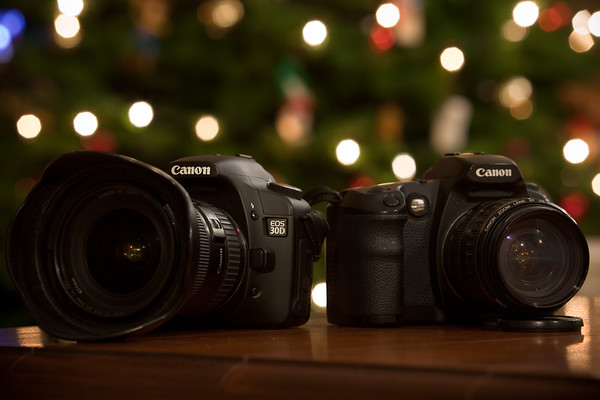 First shot with the Canon EOS 5D Mark II is of my previous DSLRs (slightly soft)