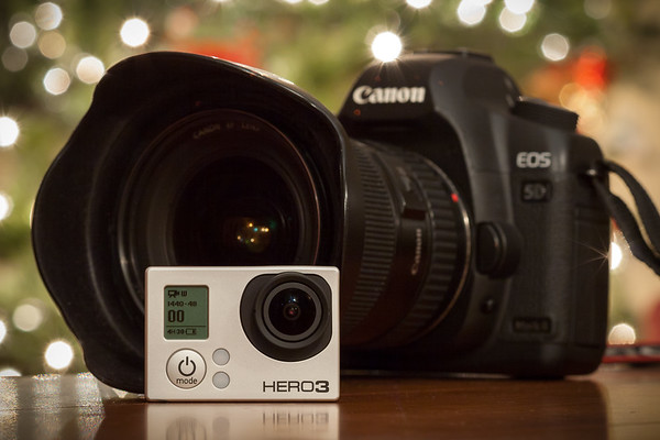 Do not forget that my Canon 5D Mark II also shoots high bitrate Full HD progressive scan video at 24 or 30 frames per second.  The GoPro Hero3's Protune video should cut well with my Canon 5D Mark II's flat profile clips once I have color corrected their footage in post.