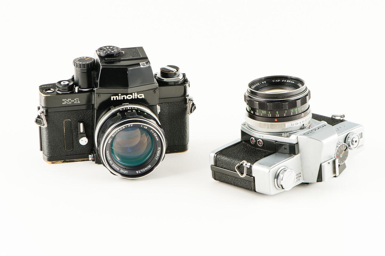 Minolta X1 (1973) & Minolta STR 101 (1966).