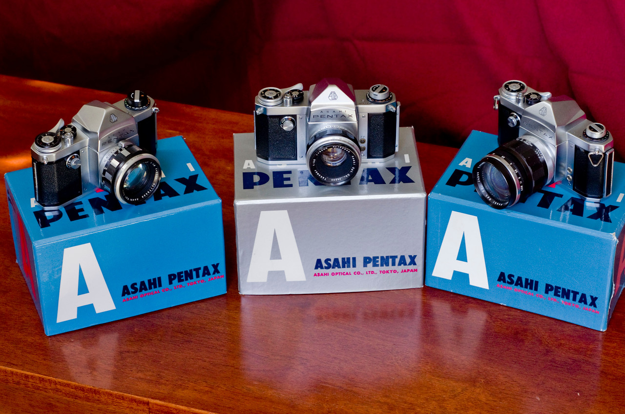 "From right to left;<br /> <br /> The 1957 ""Asahi Pentax"" (AP) - Arguably the worlds first commercially successful ""through the lens"" SLR<br /> <br /> The 1958 Pentax S - The S included a slight standardization over the AP.  The K was released shortly after the S, resulting in very few numbers of these cameras being released.<br /> <br /> The 1958/59 Pentax K - Adding a (semi) auto aperture.<br /> <br /> ."