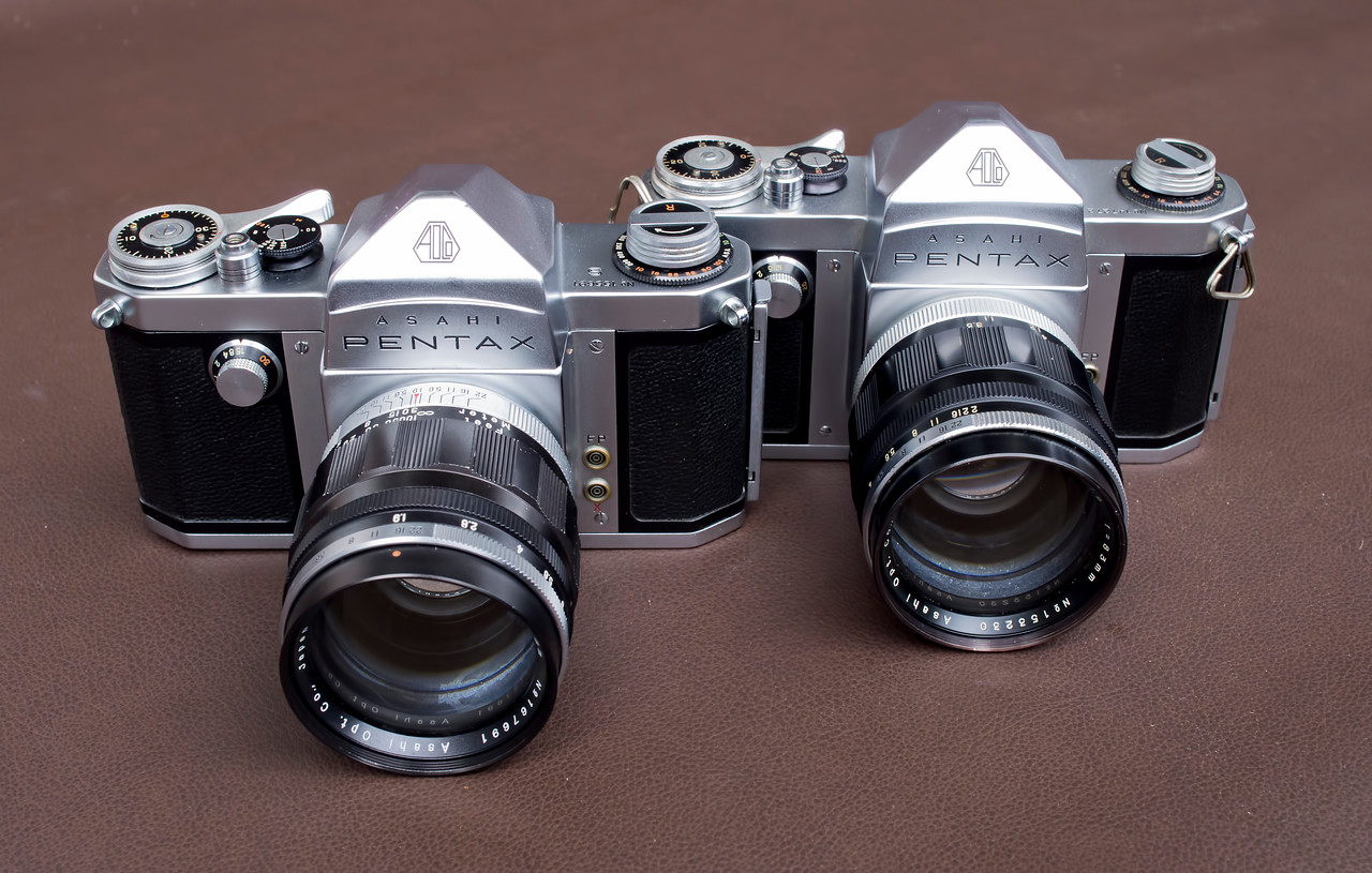 The 1958 Pentax S and the 1957 Pentax AP both with 83mm/1.9 Takumars