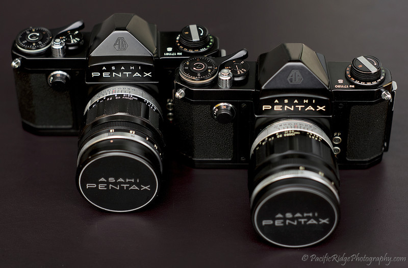 The S had a rather short production run, resulting in less than 5000 units being made.  It can be very hard to find any of the original Asahi cameras, but the S is rarest of them all.  Here are my 2 copies of the S in black.