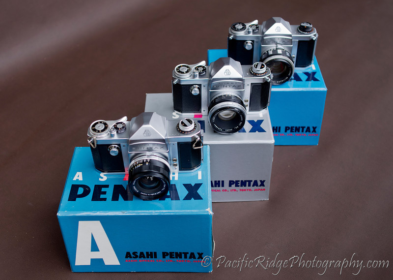 Finally, from left to right.....1957 Asahi Pentax AP, 1958 Pentax S, and the 1958 Pentax K.  Both the S and K have their original lenses, but sadly, the AP did not retain it's original preset Takumar.
