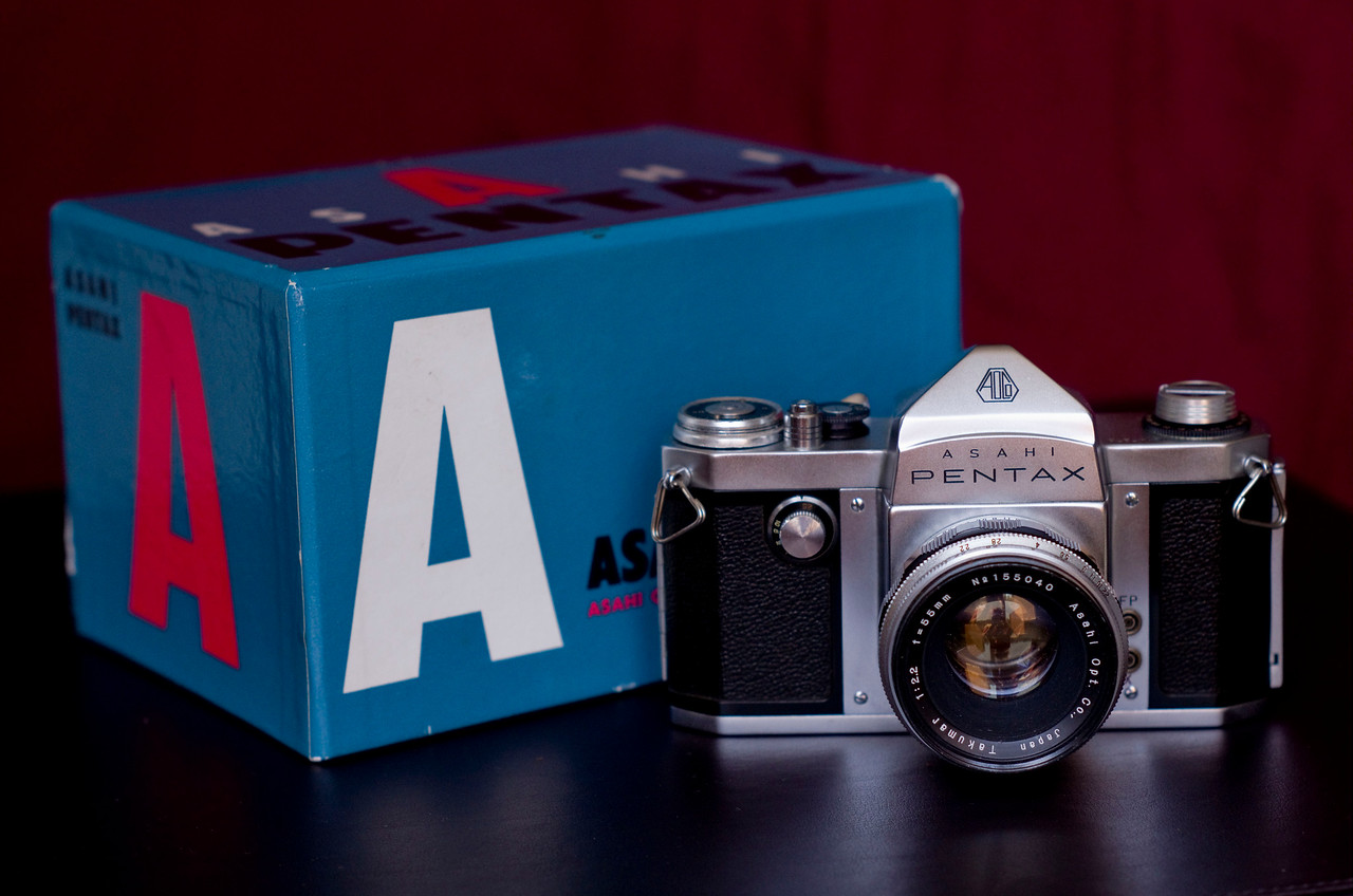 Another view of the 1957 Asahi Pentax with it's original box