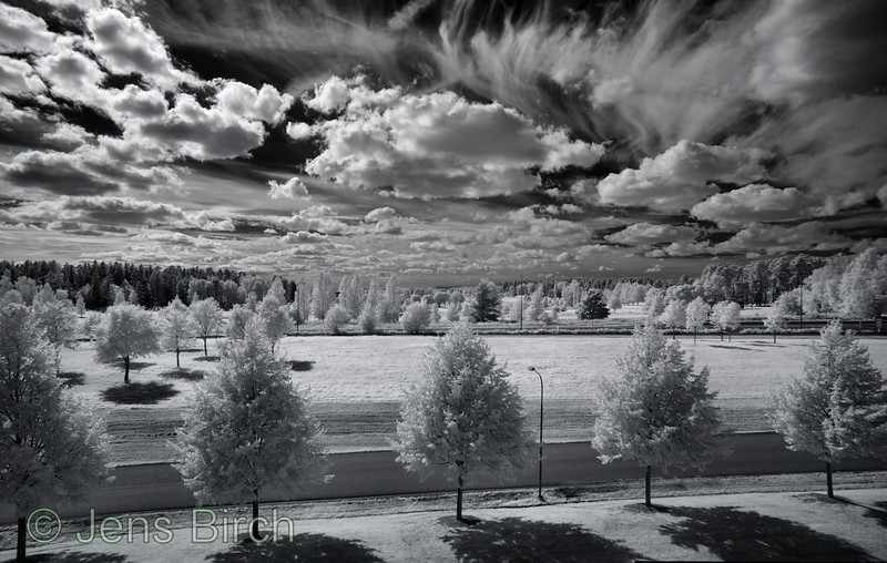 View from my office at Linköping University in IR. Taken with the DYI 17mm Tamron PC-lens on an IR-converted Olympus E-1. It is made up of 2x2-stitched panes.