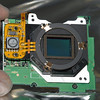 <b>E-1 IR-conversion:</b> The sensor board with the dust filter in front of the IR/AA-filter and the sensor.