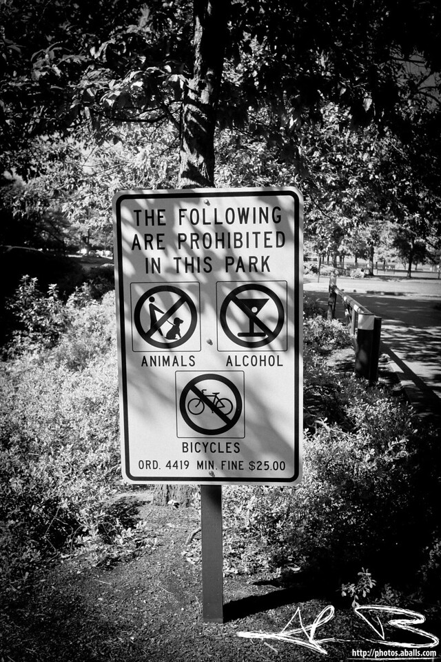 Also prohibited but not pictured: Fun.