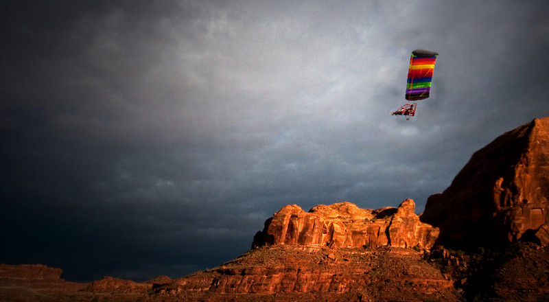 Para Glider over the Colorado River<br /> Moab Utah