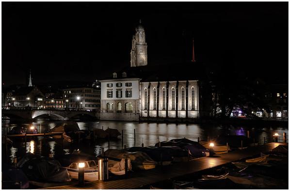 Zurich City Hall and Marina at Night