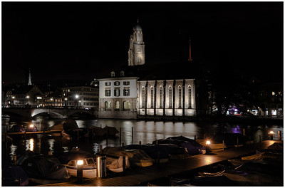 Zurich City Hall and Marina at Night
