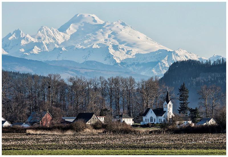 Fir Church in Conway Washington Mount Baker in the Background