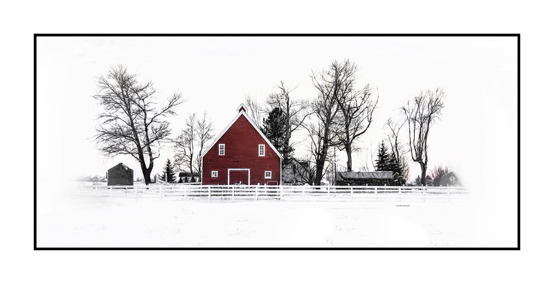Loveland Colorado  Red Barn in the Winter