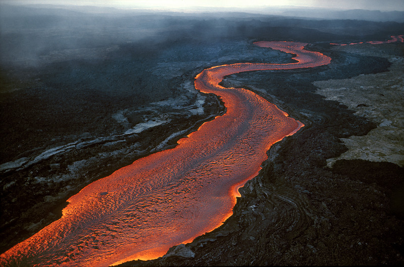 River of Lava Flowing Toward Hilo, Mauna Loa Eruption, Big Island of Hawaii  4/84
