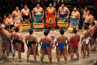 The 2011 Hatsu Basho (opening tournament in January), at the Ryoguku Kokugikan in Tokyo.  Pre-match ceremony for sumo wrestlers in the top (Makuuchi) division.