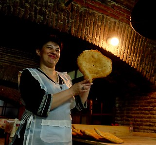 Georgian bread - fresh from the toné (oven). There's nothing like it!