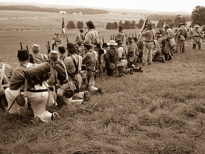 Confederate Infantry Line Waiting
