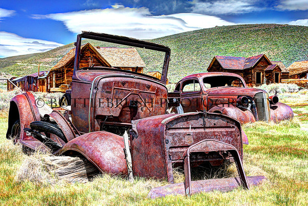 Two old cars left behind in Bodie, Ca.  1937 Chevy 5-Window Coupe and a truck.